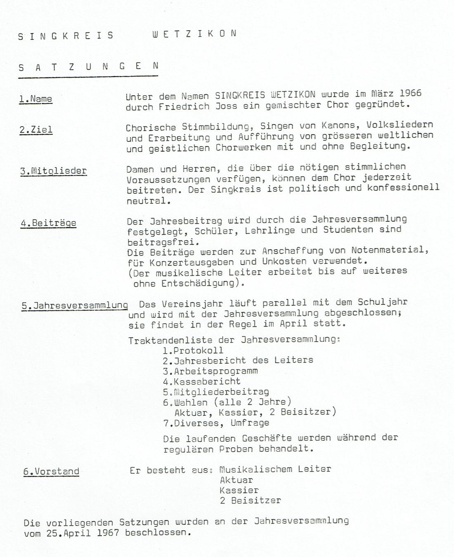 1. Statuten von April 1967
