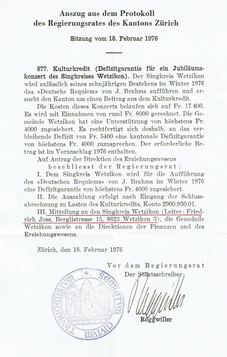 Auszug Protokoll Regierungsrat Kanton Zürich