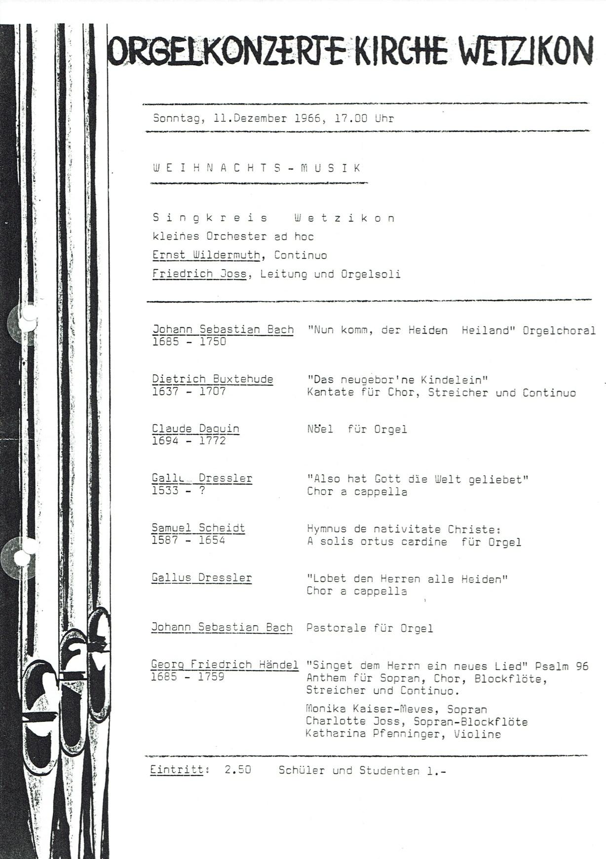 Flyer 1. Konzert 1966