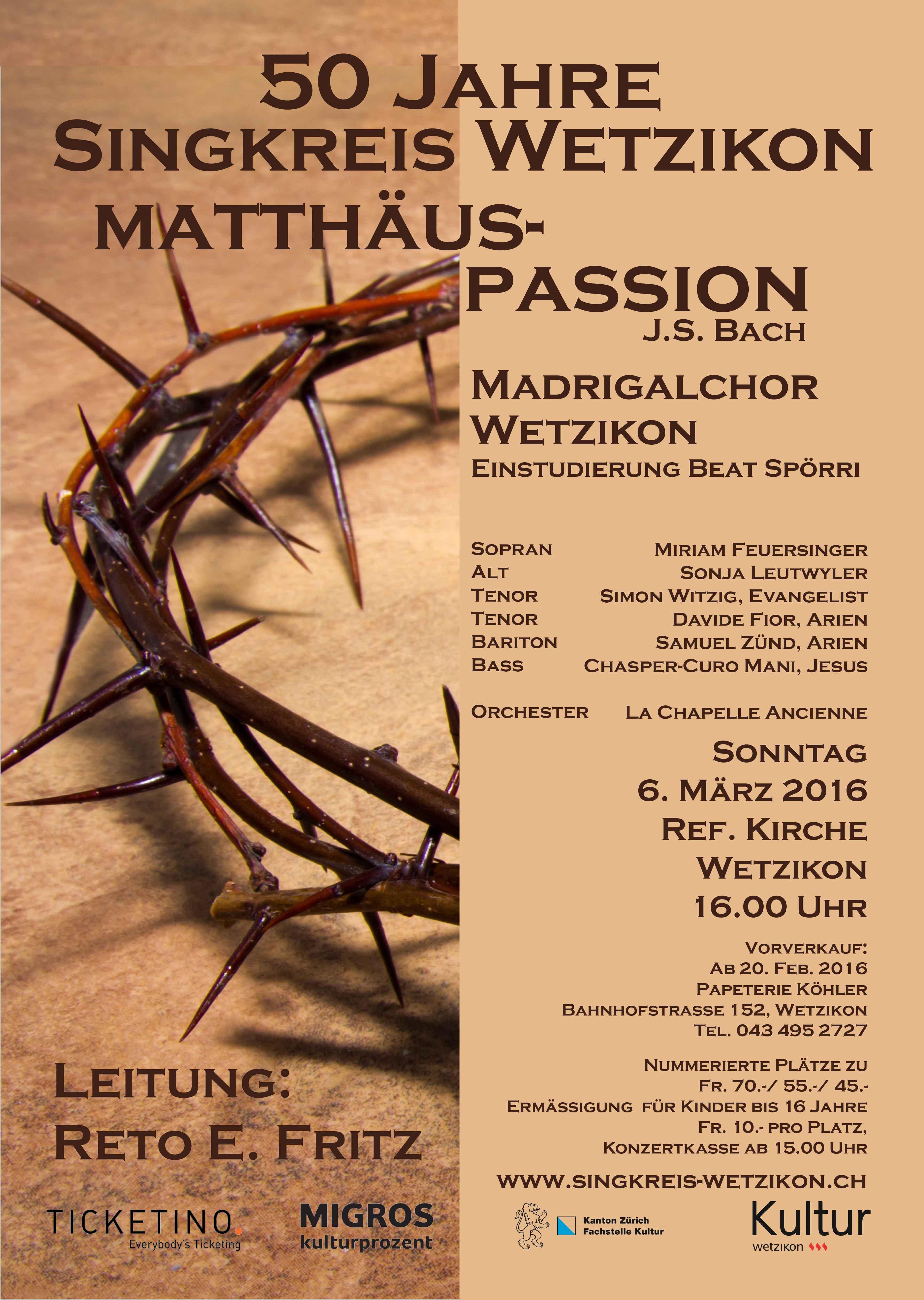 2016 Matthäus-Passion von J.S. Bach